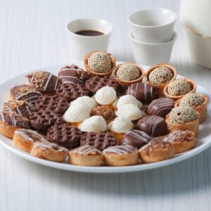 FRENCH COOKIES = A selection of premium chocolates with nuts, coconuts, white chocolate, dried fruit, caramel, Nutella and many more, in many forms.