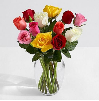 12 Mixed Roses - Mixed roses, Beautiful Colors! This will make them Happy and remember you for days