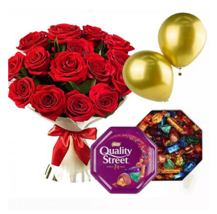 20 Red Roses + Mackintosh Chocolate Box + 2 balloons - send flowers online delivery, Jordan, Red Roses + Mackintosh quality streets