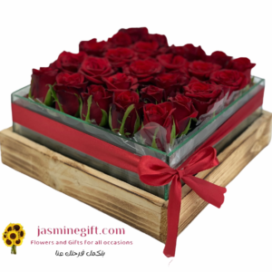 red roses in glass box send flowers to amman