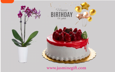 Birthday day Special Cake and Orchid Purple
