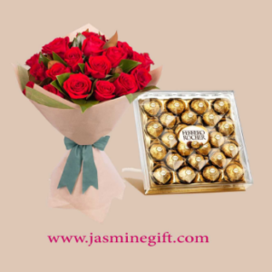 Bouquet of Red Roses and Ferrero Rocher Box