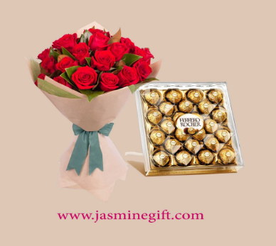 Bouquet of Red Roses and Ferrero Rocher Box -