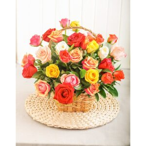 Mixed Roses in a Basket
