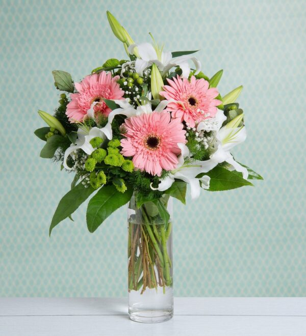 White Lilies with hot pink gerberas