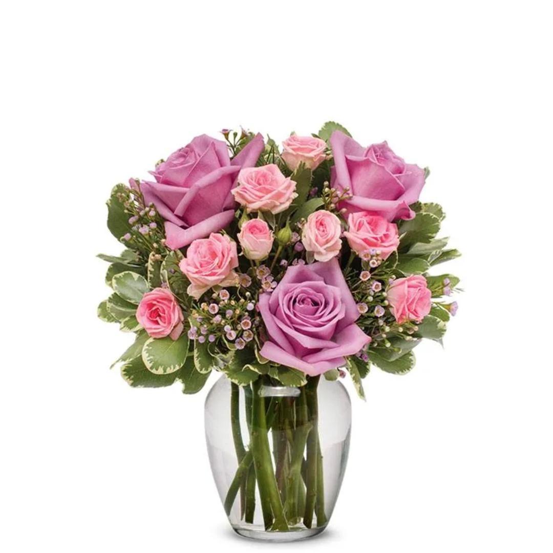 Purple rose included vase -
