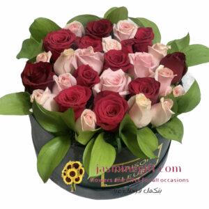 pink red roses box amman jordan flower gift