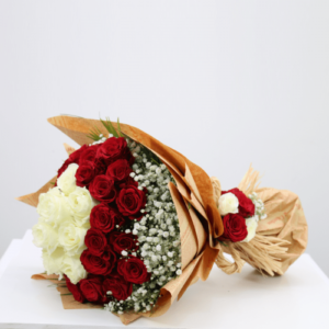 White And Red Roses Luxury - 10 White Roses, 25 Red Roses , Delicate soft gypsophil roses