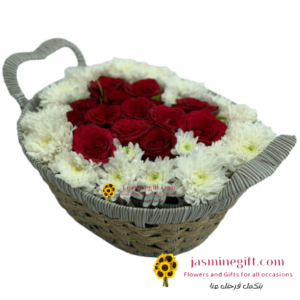 online order to amman red roses heart shape flowers in a basket