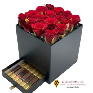 red roses box and chocolate send flowers to amman (1)