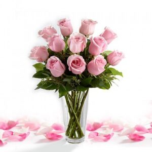 Pink Roses Included Vase-